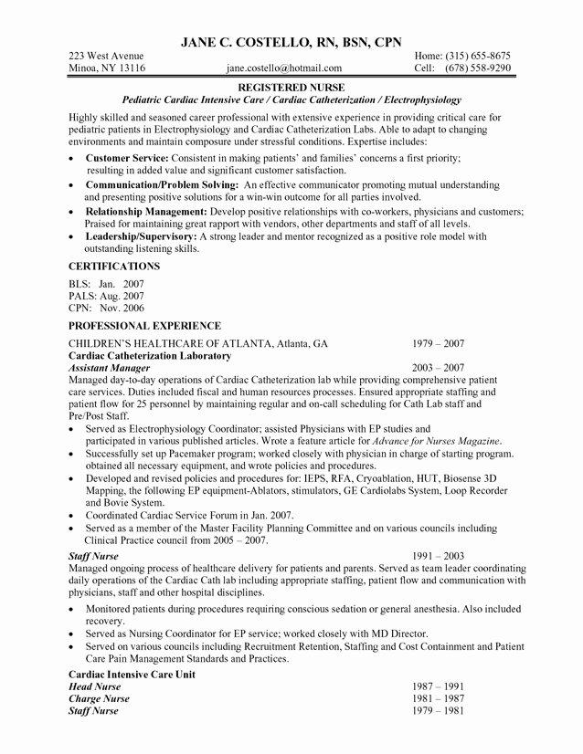 Best Registered Nurse Resume Example