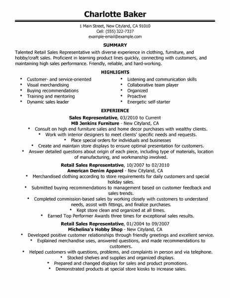 Best Rep Retail Sales Resume Example