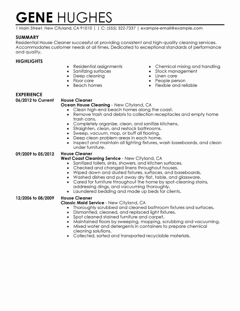 Best Residential House Cleaner Resume Example