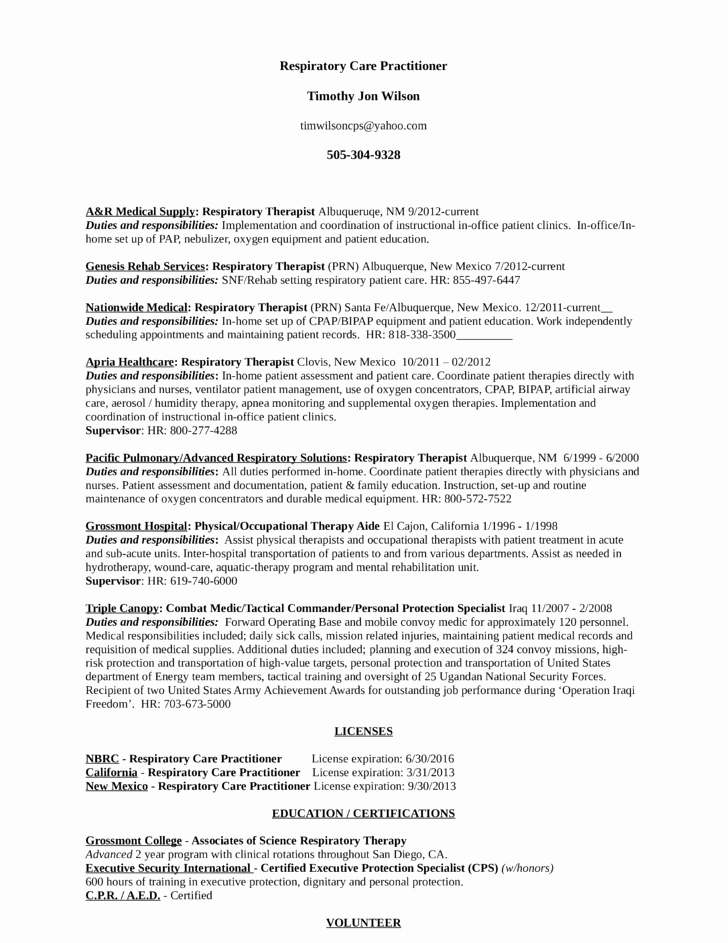 Best Respiratory therapist Resume Template