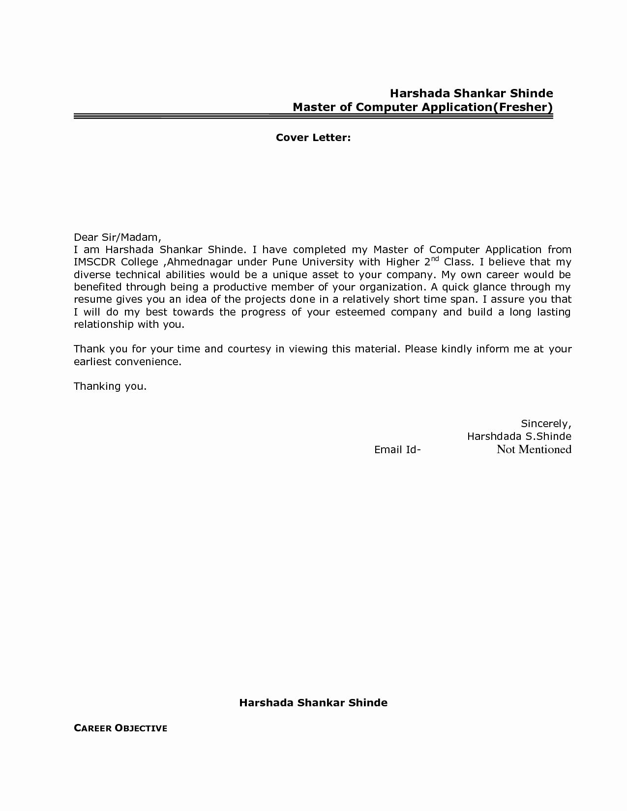 Best Resume Cover Letter format for Freshers Govt Jobcover