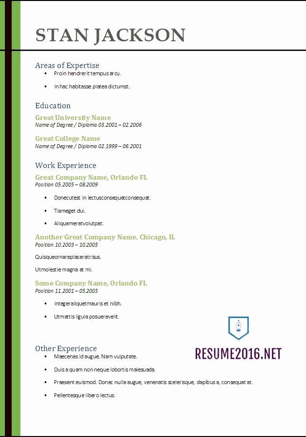 Best Resume Template 2017