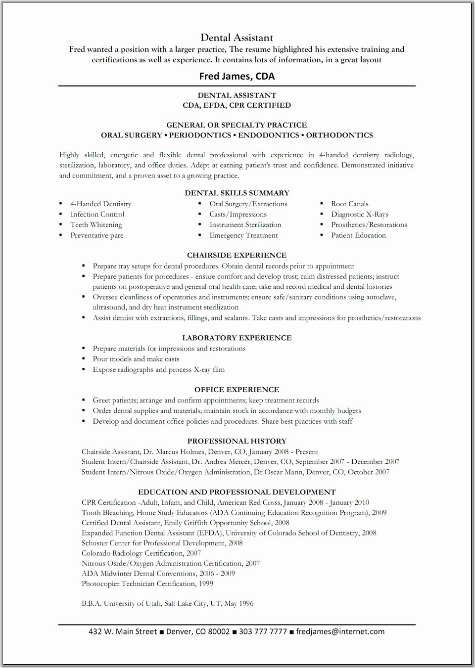 Best Resume Template Example for Dental assistant with