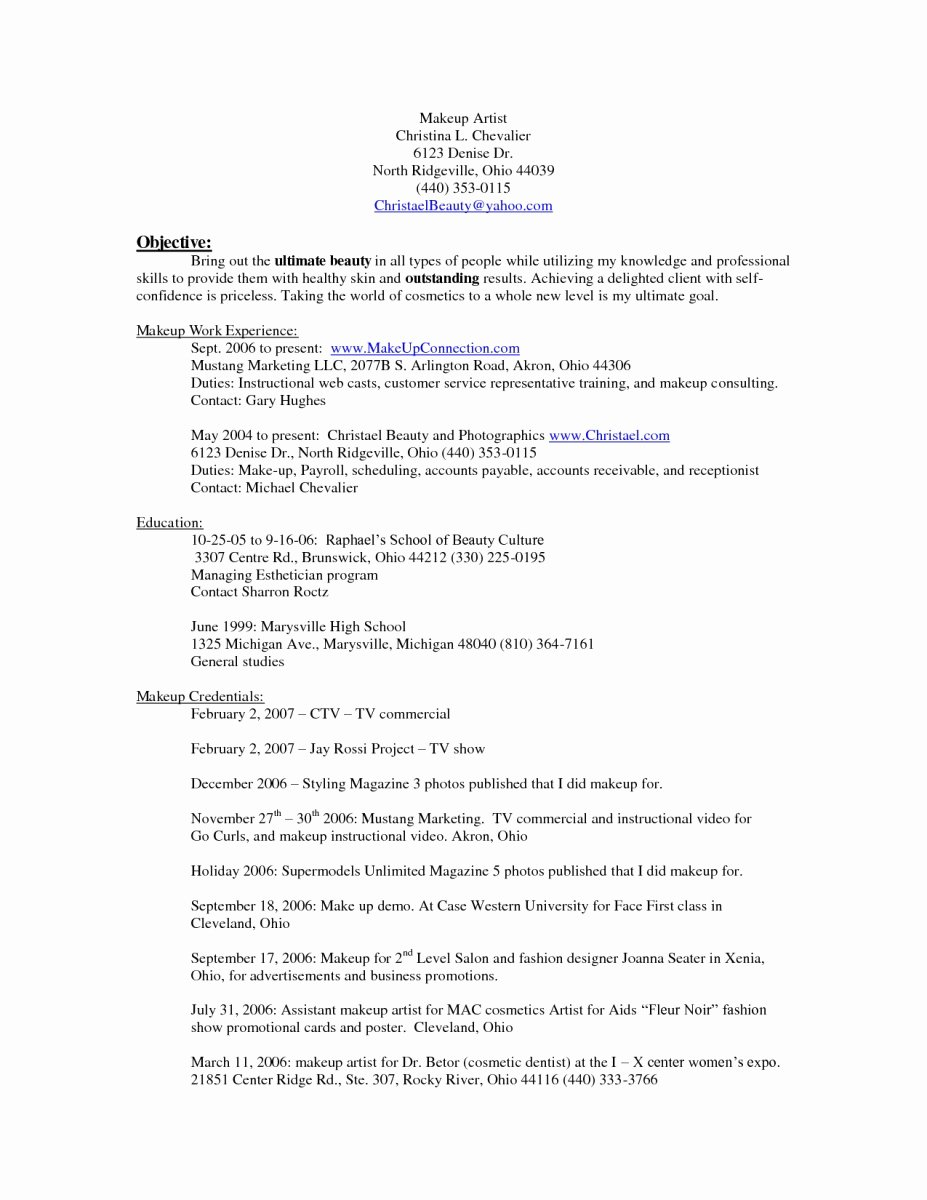 Best Resume Template for Makeup Artists