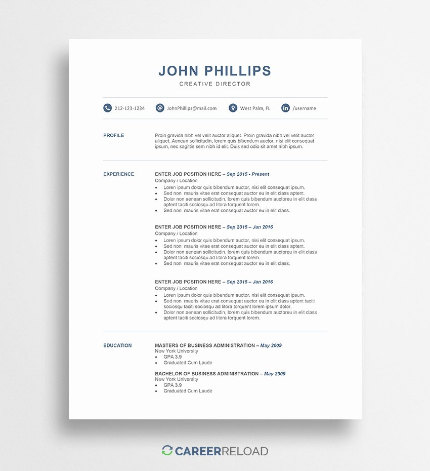 Best Resume Templates Word Modern Cv Template for Word