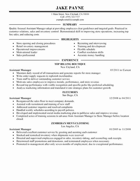 Best Retail assistant Manager Resume Example