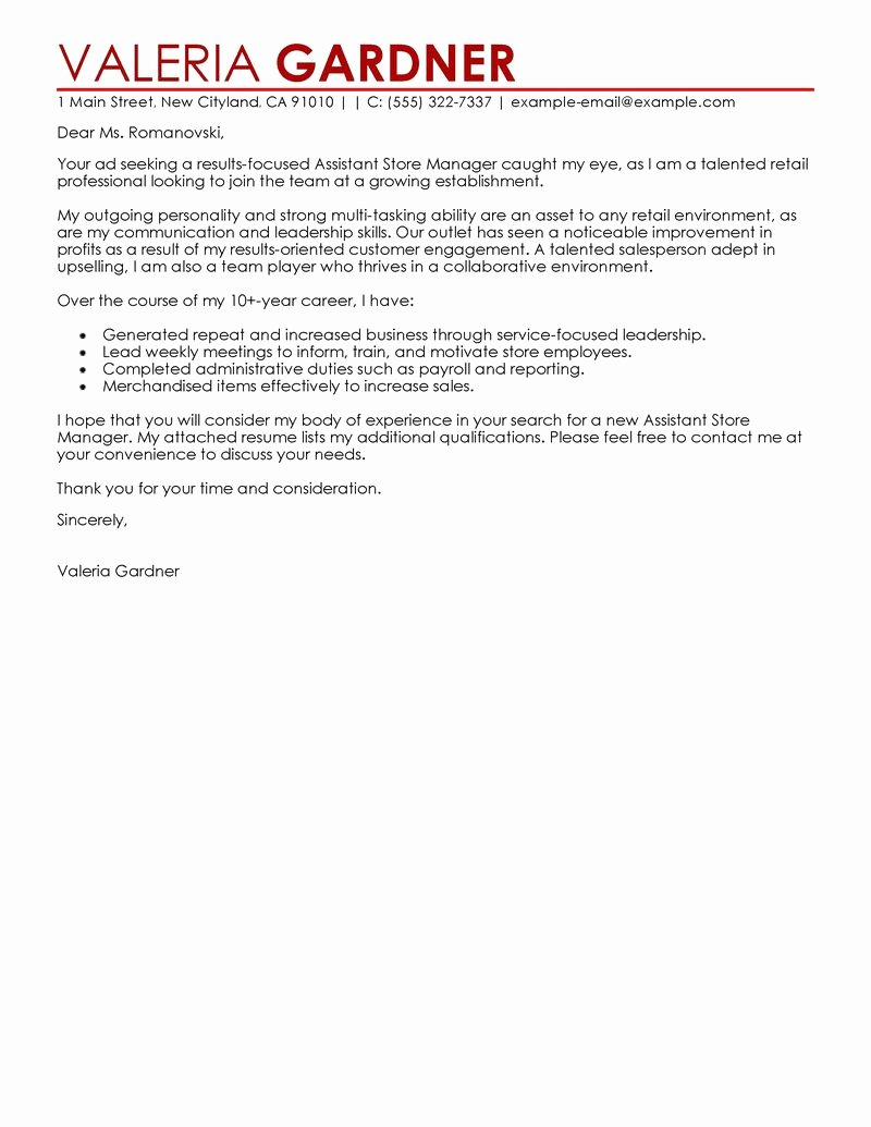 Best Retail Assistant Store Manager Cover Letter Examples