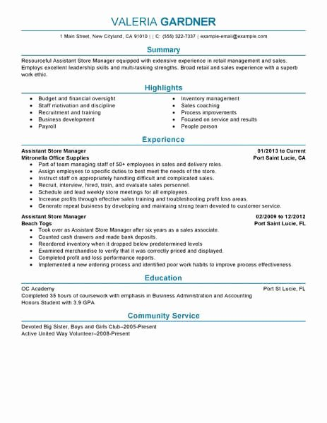 Best Retail assistant Store Manager Resume Example