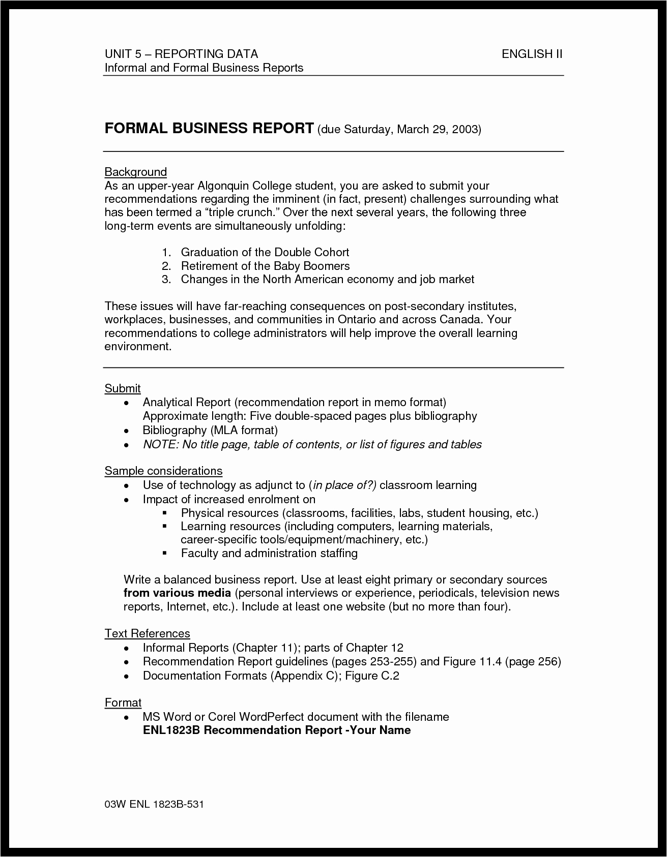 Best S formal Report Sample Writing Analytical