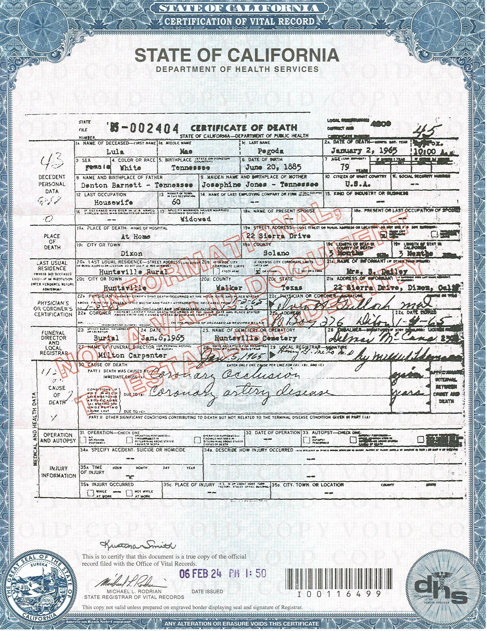 Best S Of 2012 California Death Certificate