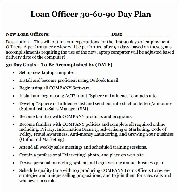 post 30 60 90 day plan for new job