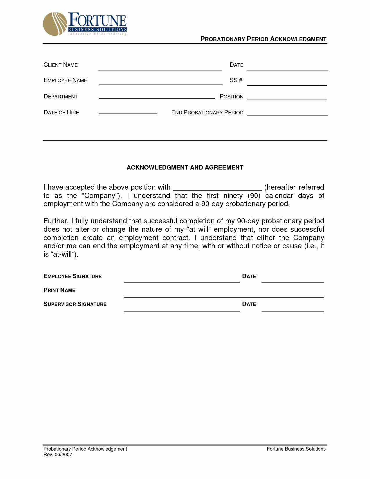 Best S Of 90 Day Probationary Period Template 90