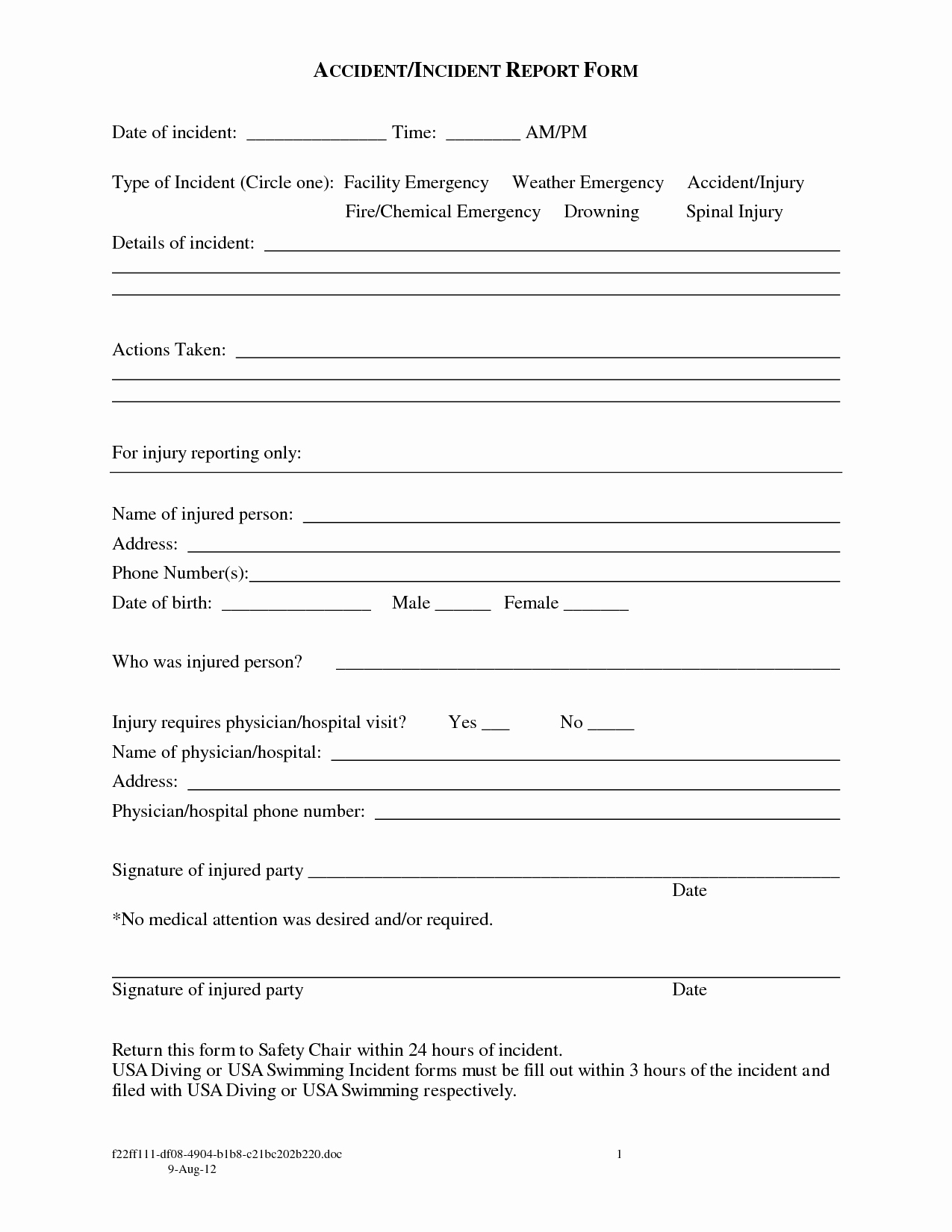 Best S Of Accident Incident Report form Accident