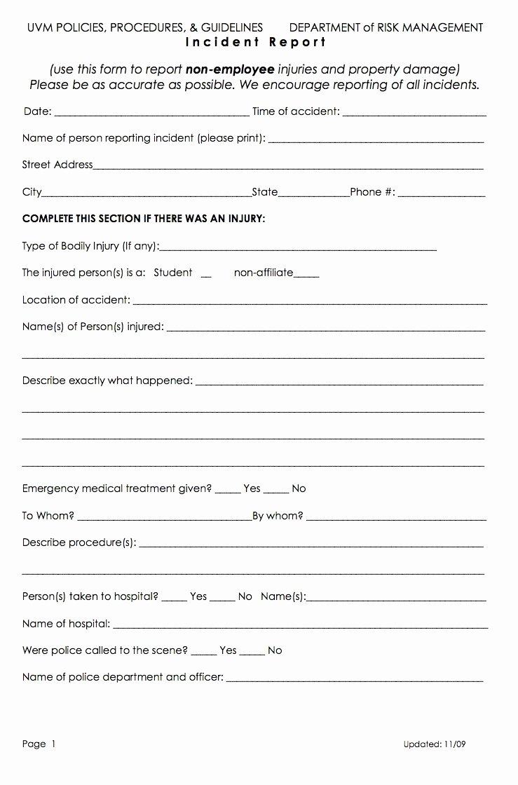 Best S Of Accident Incident Report form Template