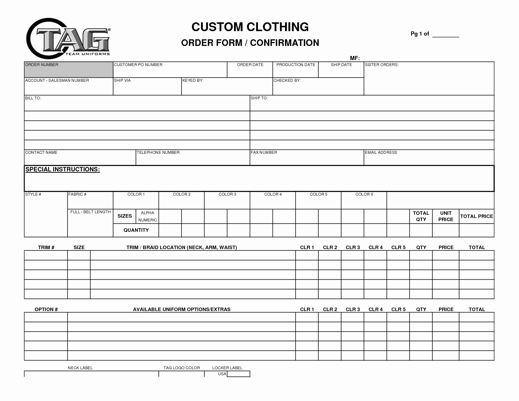 Best S Of Apparel order form Template T Shirt order