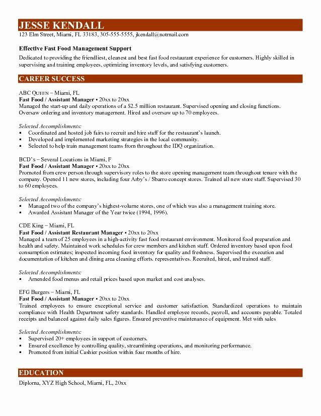 Best S Of assistant Restaurant Manager Resume