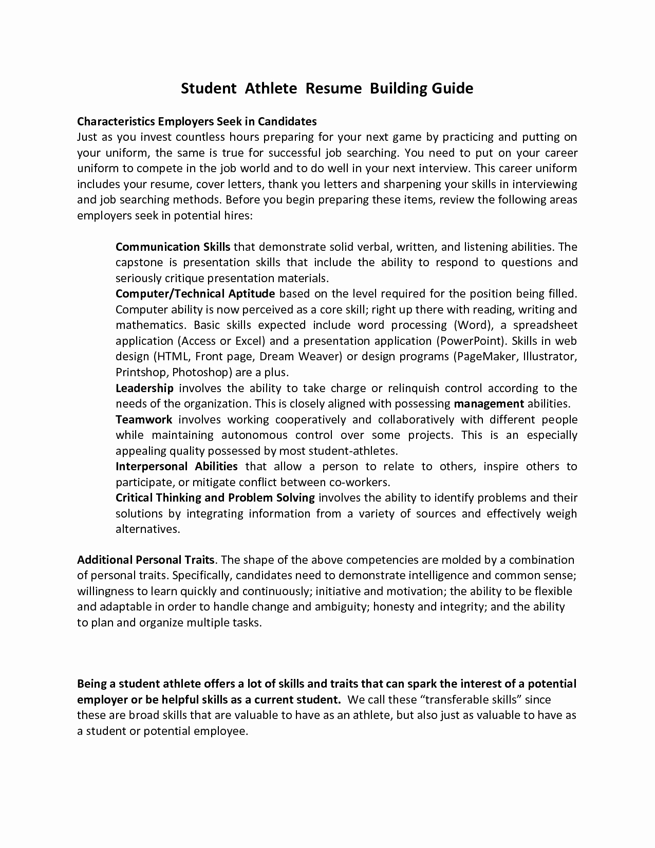 Best S Of athlete Resume Example Student athlete