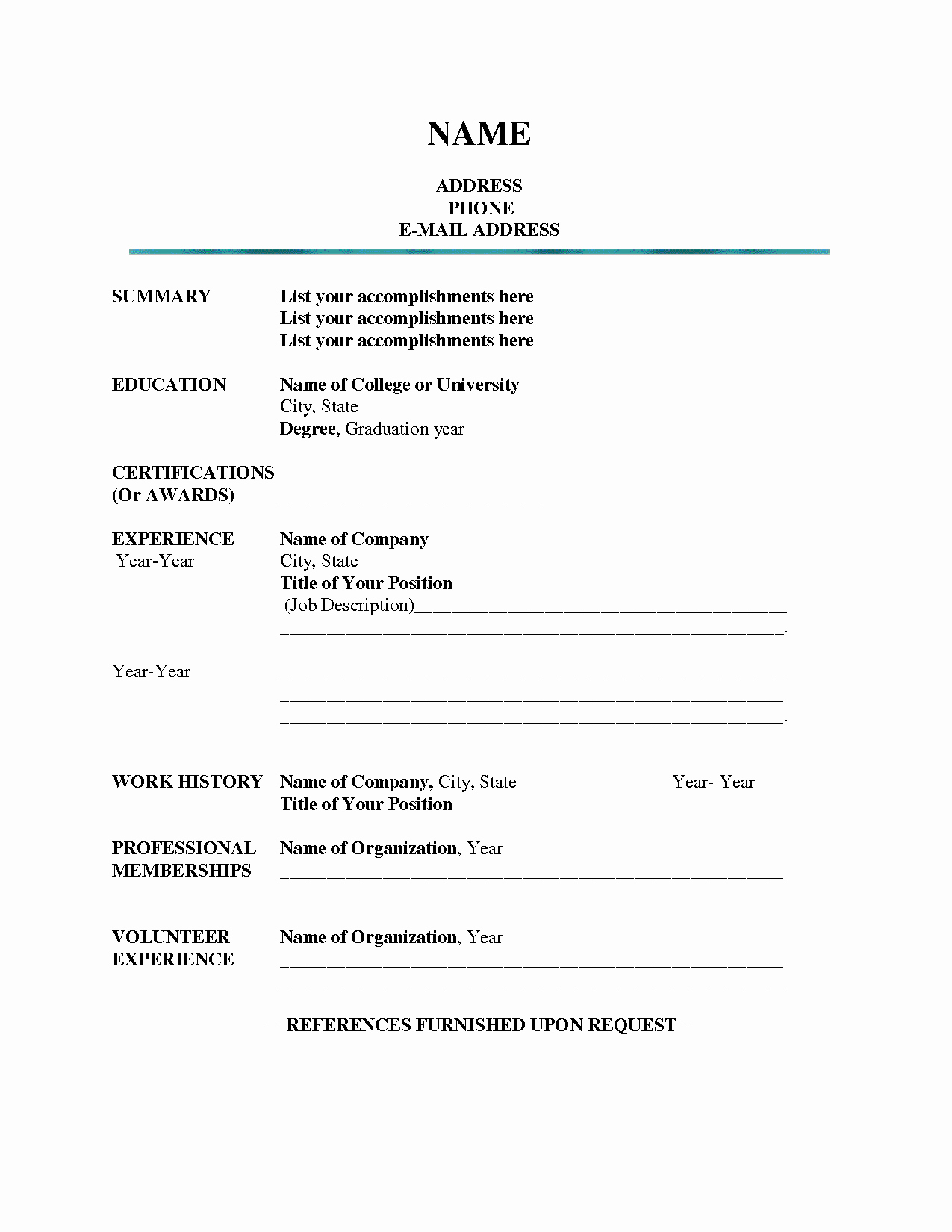 Best S Of Blank Resume Templates Fill In Blank
