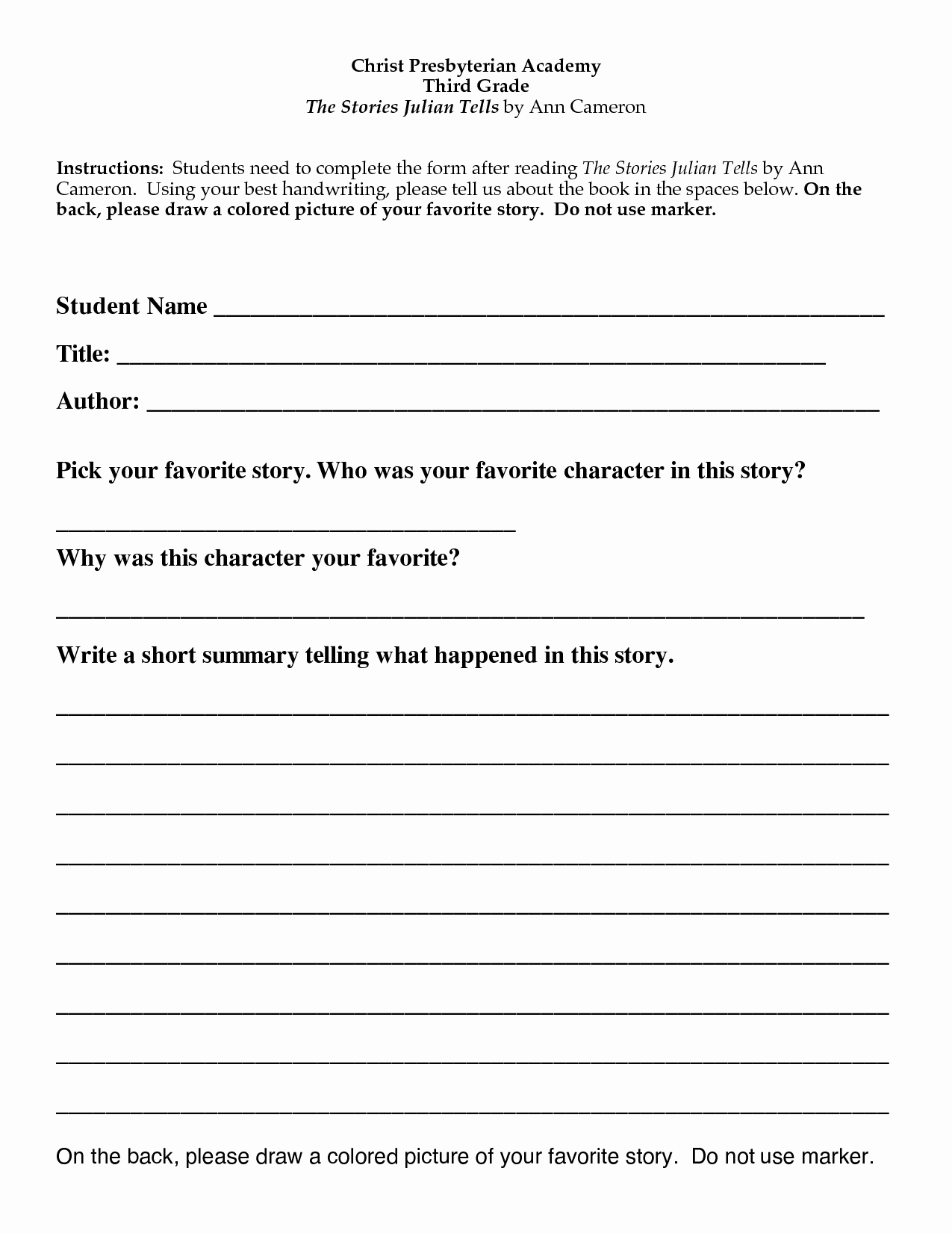 Best S Of Book Report Template 5th Grade 5th Grade
