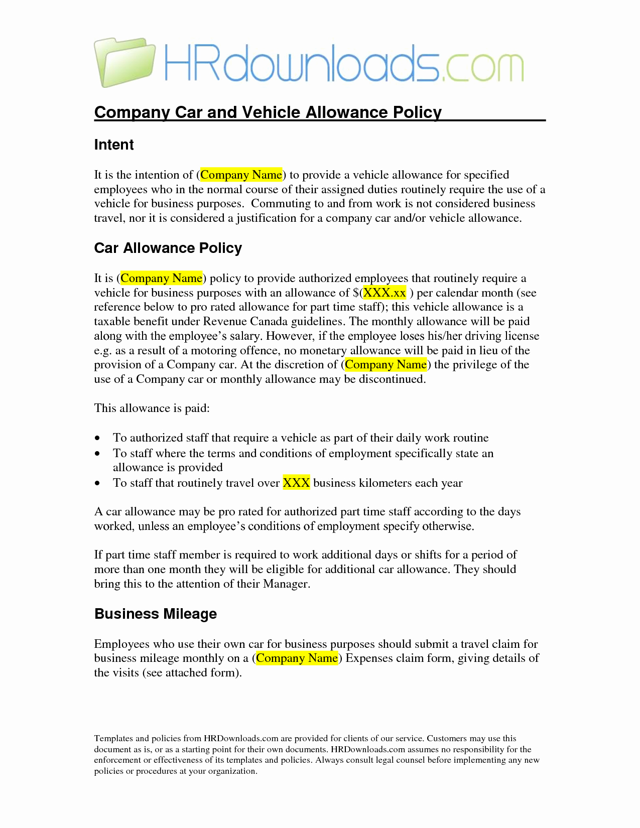 Best S Of Car Allowance Policy Templates Pany