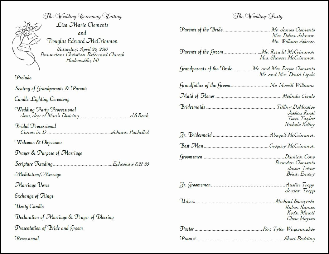 Best S Of Christian Wedding Ceremony Program Template