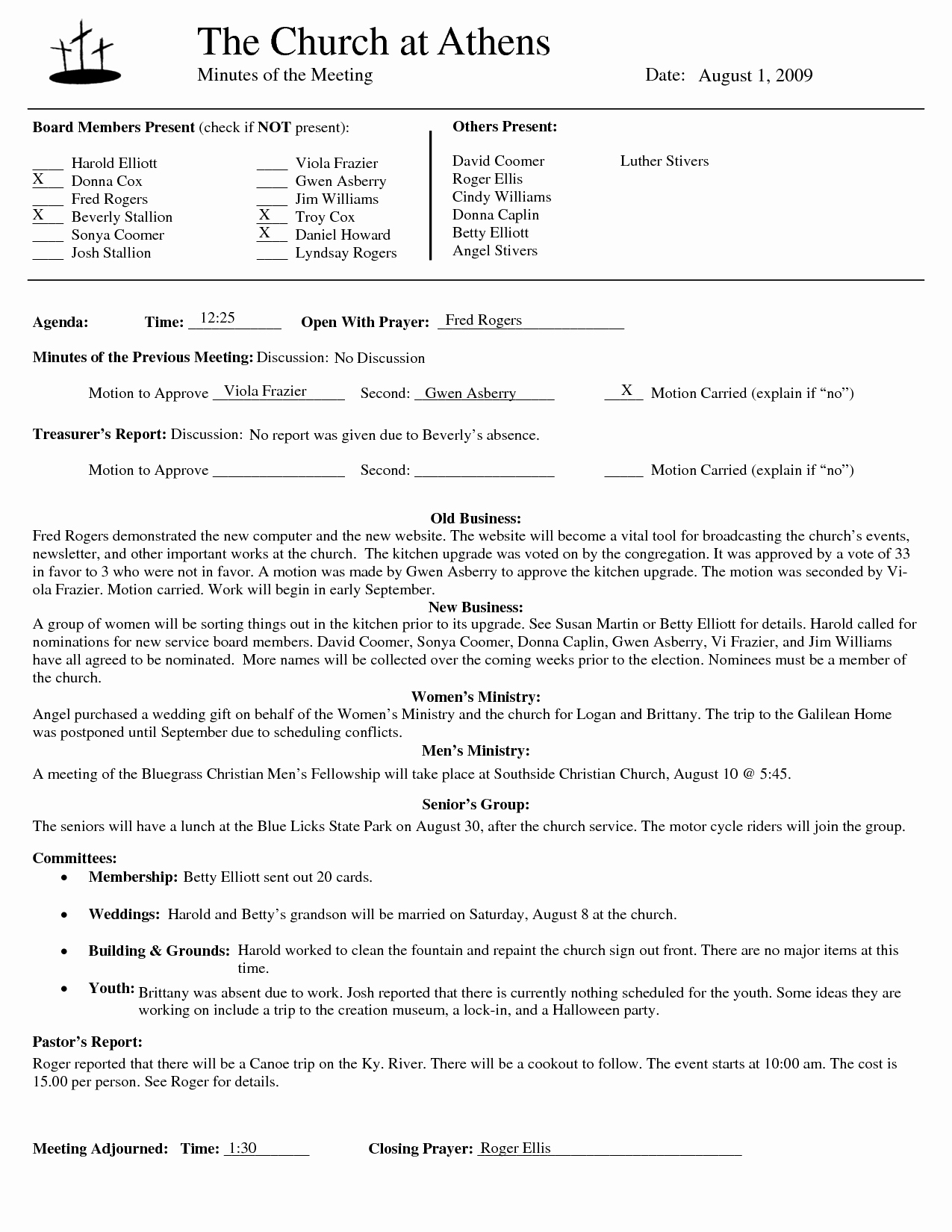 Best S Of Church Board Meeting Minutes Template
