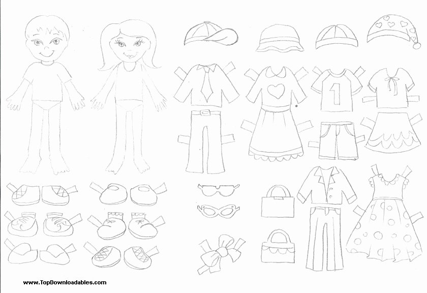 Best S Of Color Clothes Paper Doll Template Paper