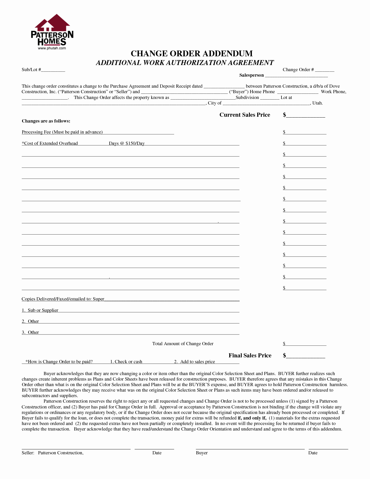 Best S Of Contractor Work order form Template
