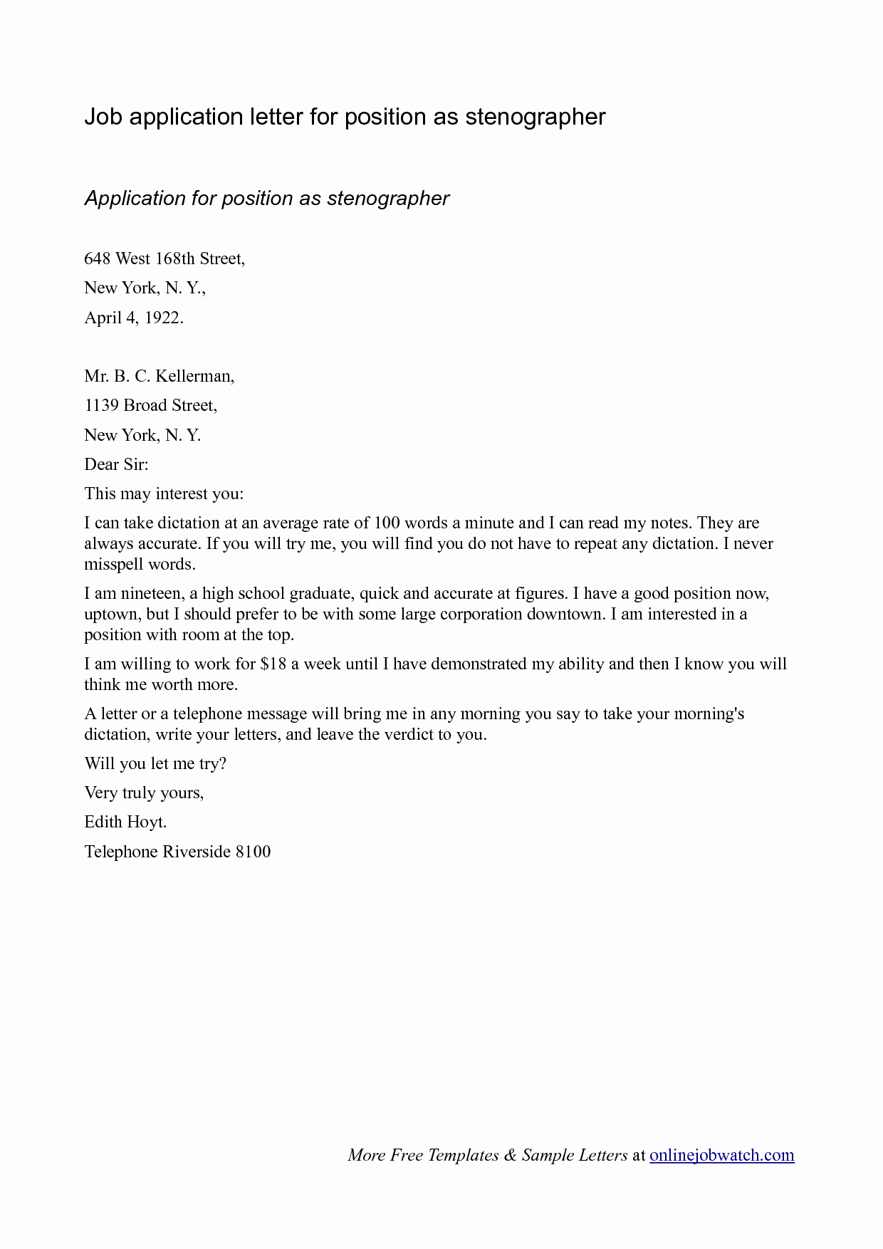 Best S Of Cover Letter for Any Position Line Job