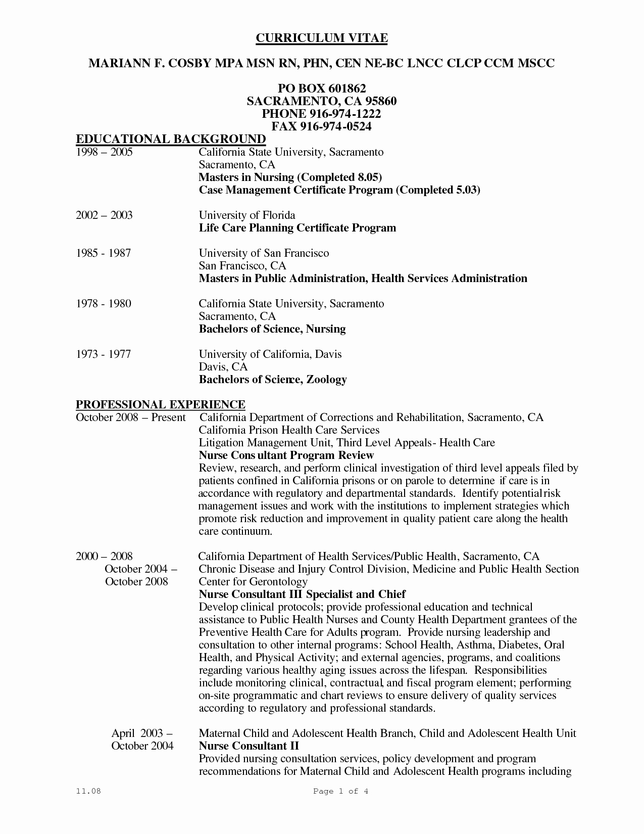 post curriculum vitae sample for nurses