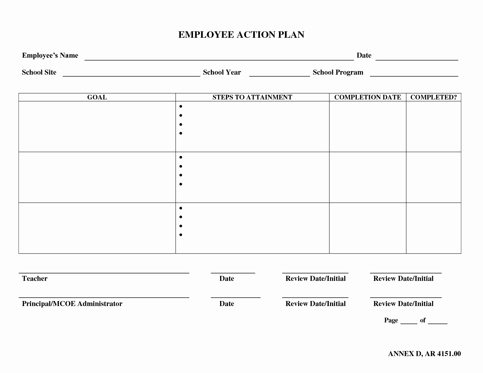 Best S Of Employee Action Plan Template Word Sample