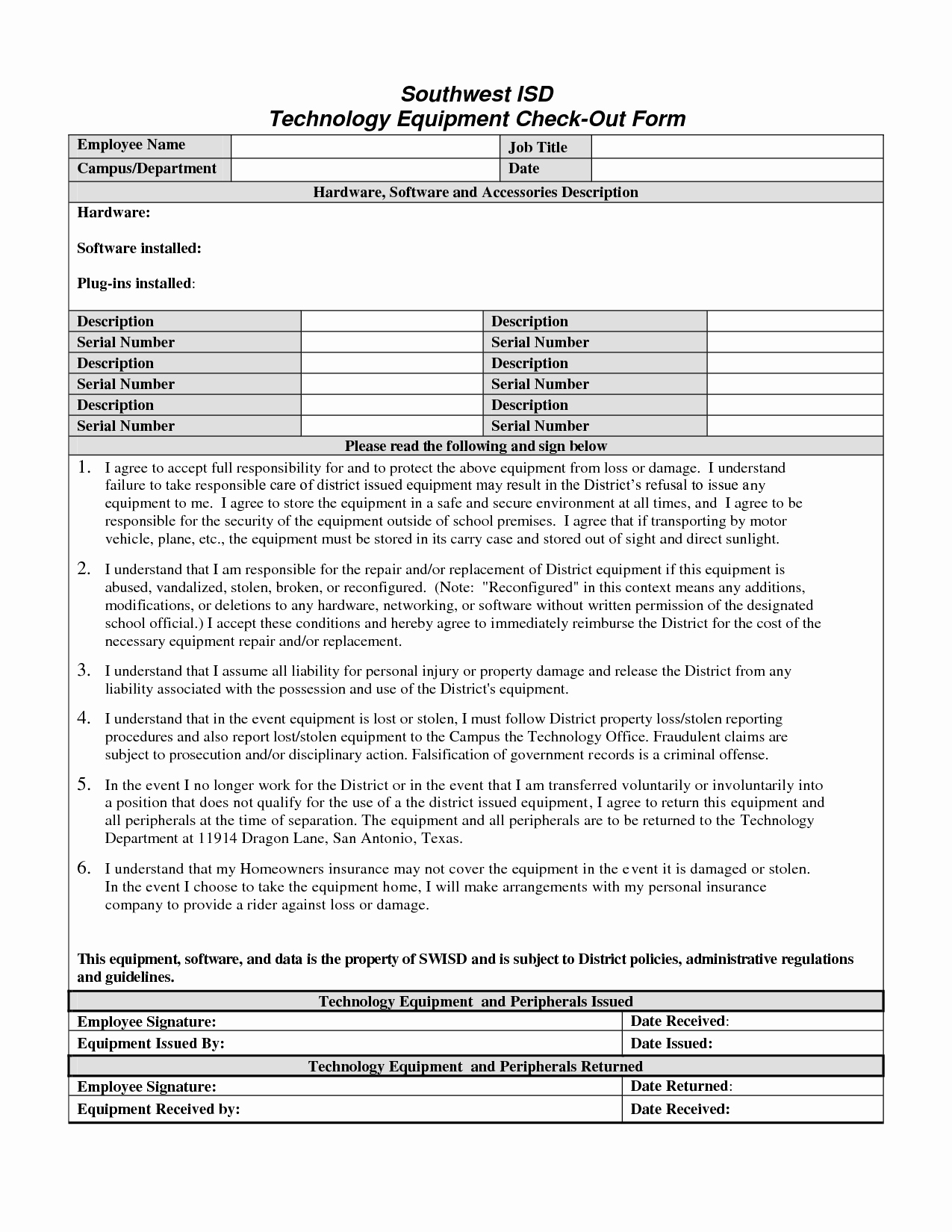 Best S Of Employee Equipment Check Out form