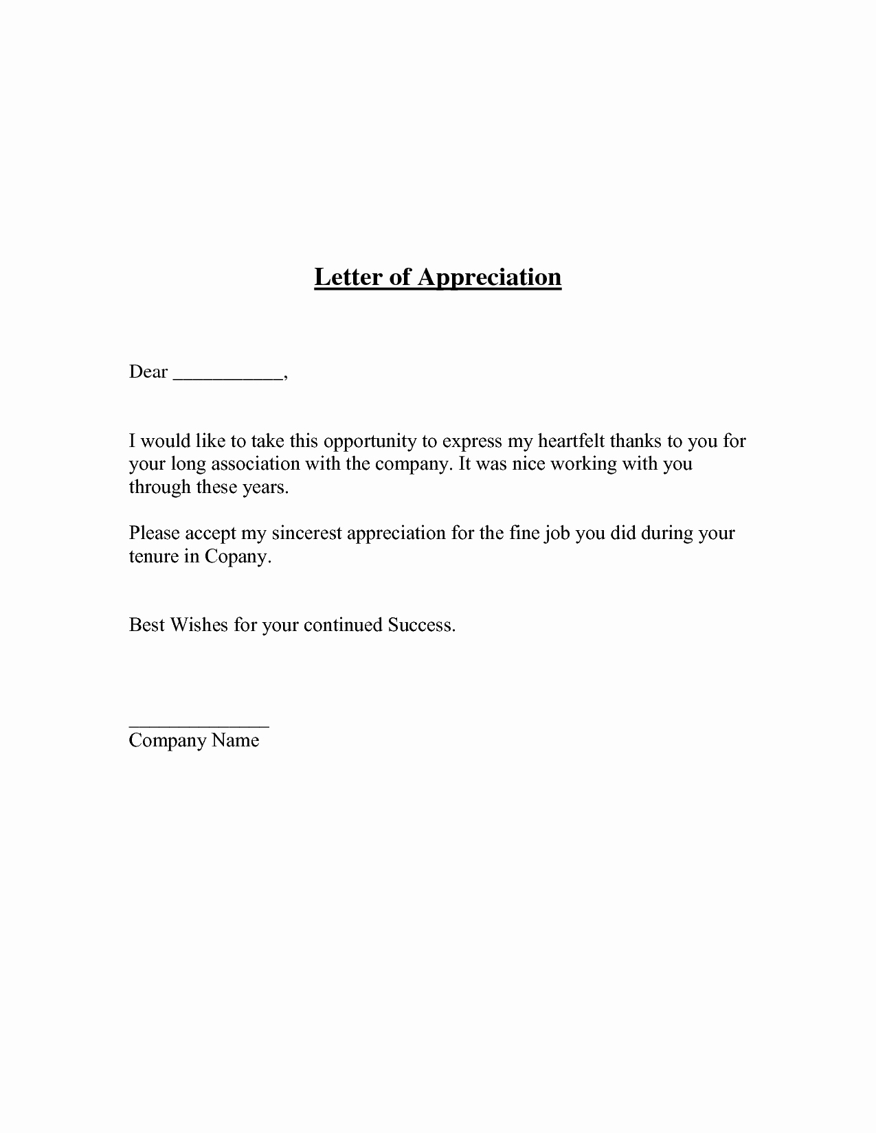 Best S Of Employee Letter Appreciation Template