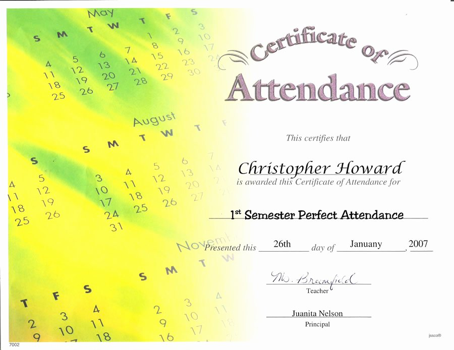 Best S Of Employee Perfect attendance Certificates
