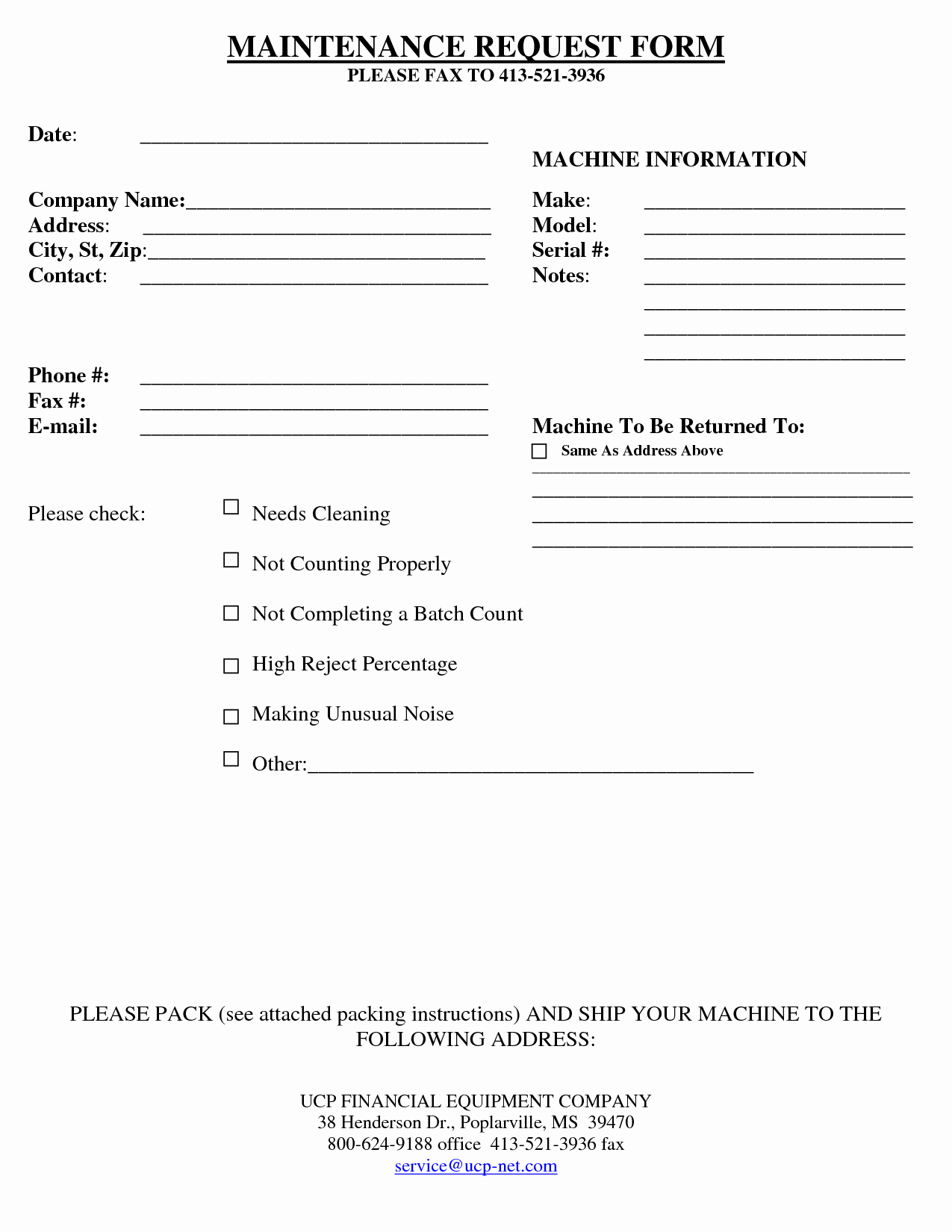 Best S Of Equipment Repair form Template Equipment