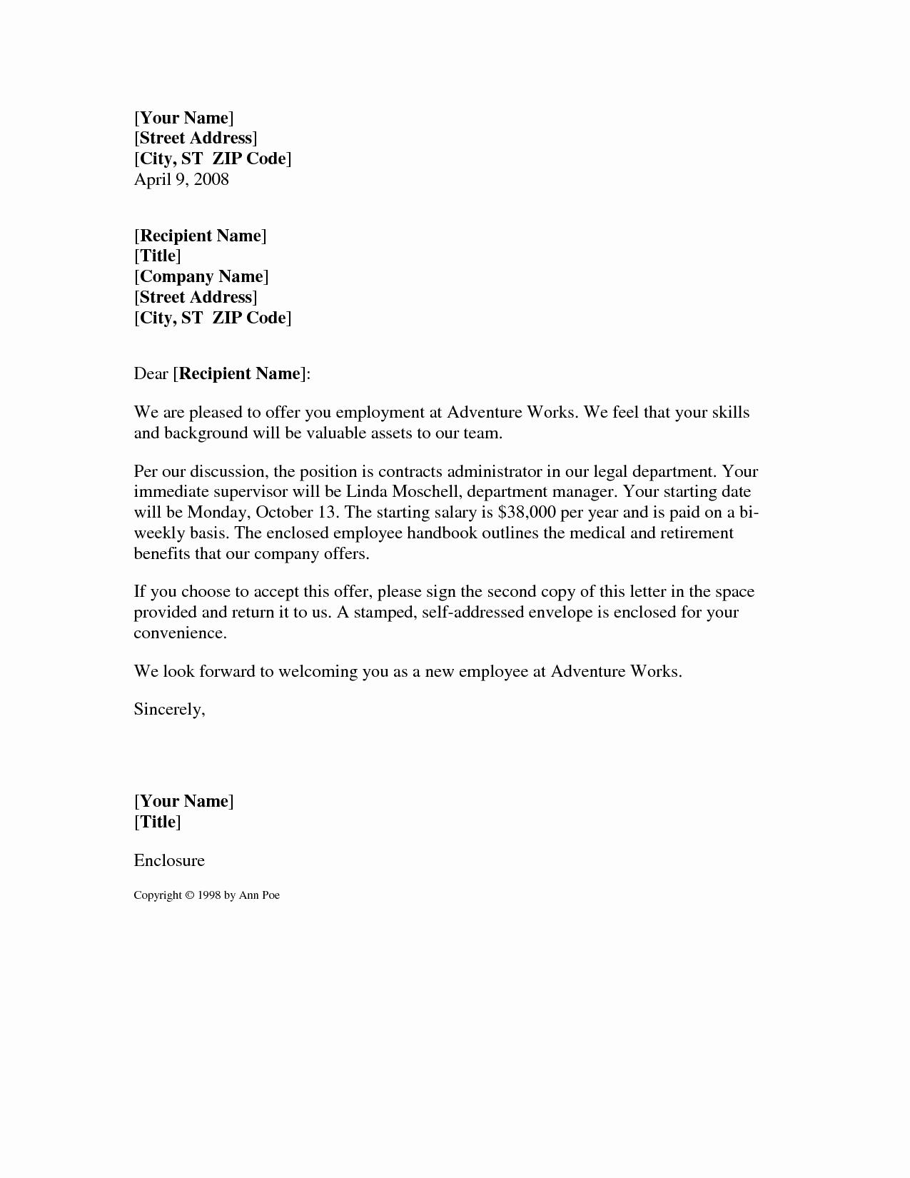 Best S Of Fer Letter format Sample Job Fer
