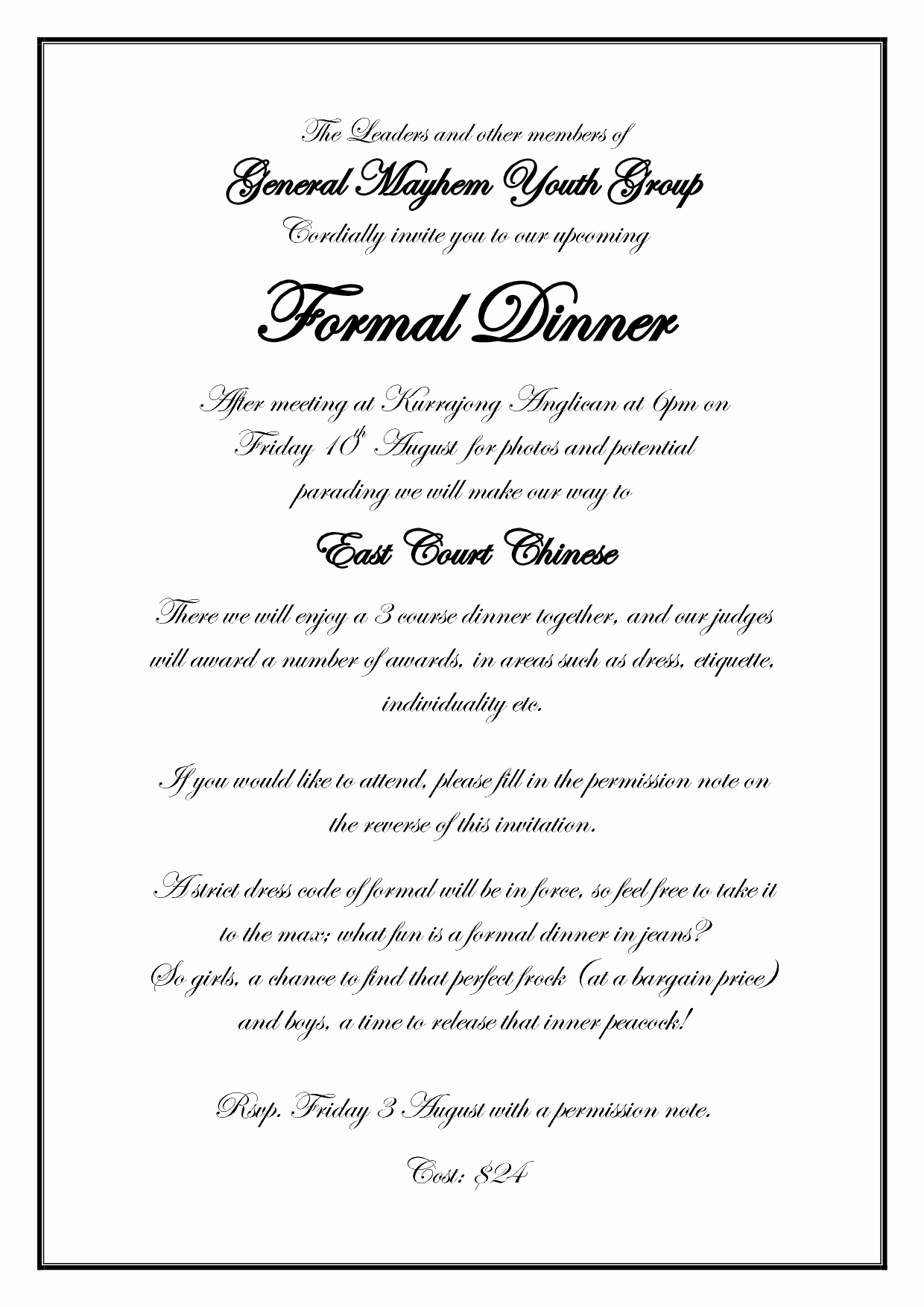Best S Of formal Dinner Invitation Wording formal