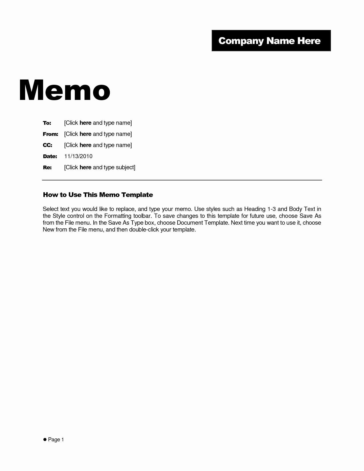 Best S Of Free Memo Templates Word Document