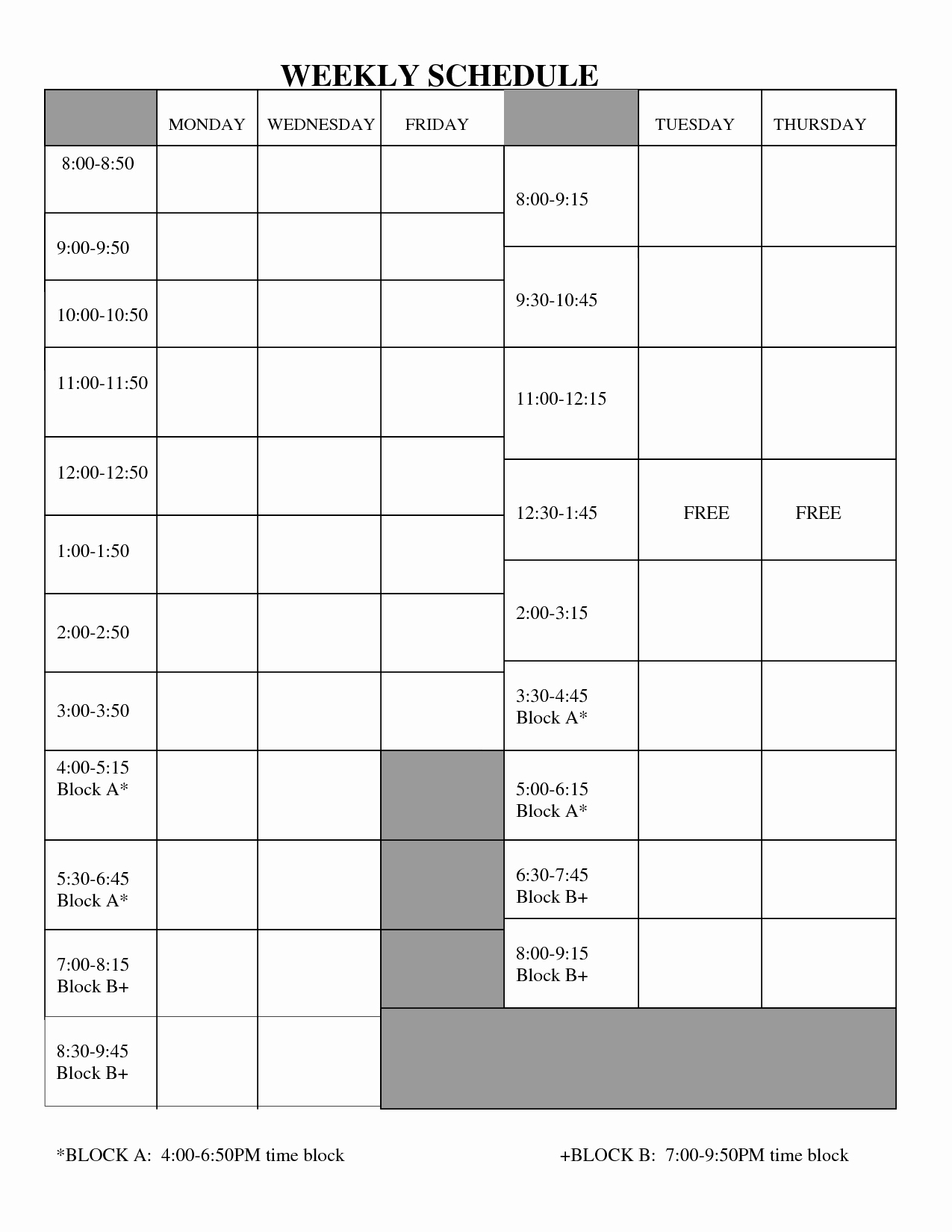Best S Of Free Printable Employee Work Schedules
