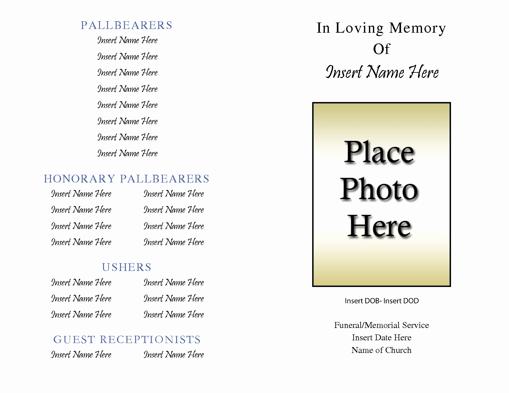 Best S Of Free Printable Obituary Templates Free
