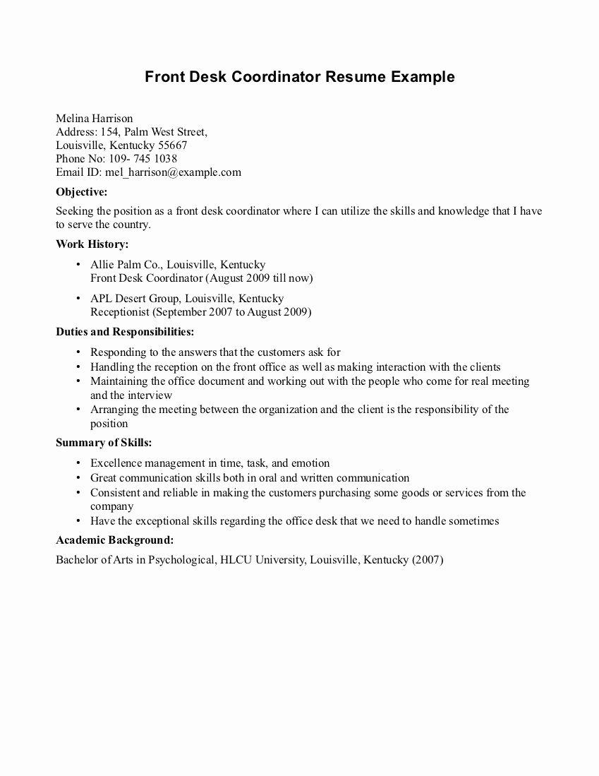 Best S Of Front Fice Receptionist Resume Samples