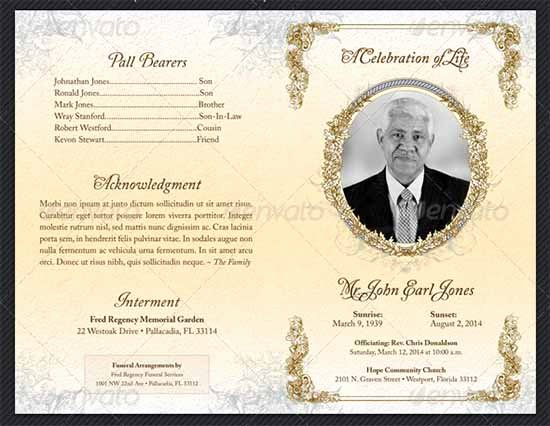 Best S Of Funeral Program Examples Example Funeral
