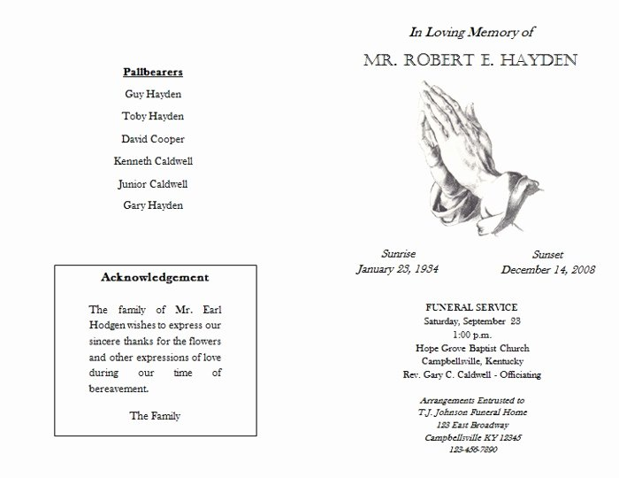Best S Of Funeral Program format Sample Obituary