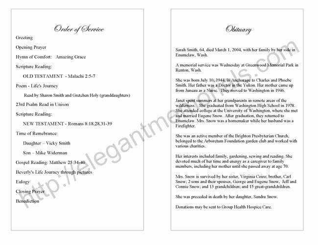 Best S Of Funeral Program Wording Samples Funeral