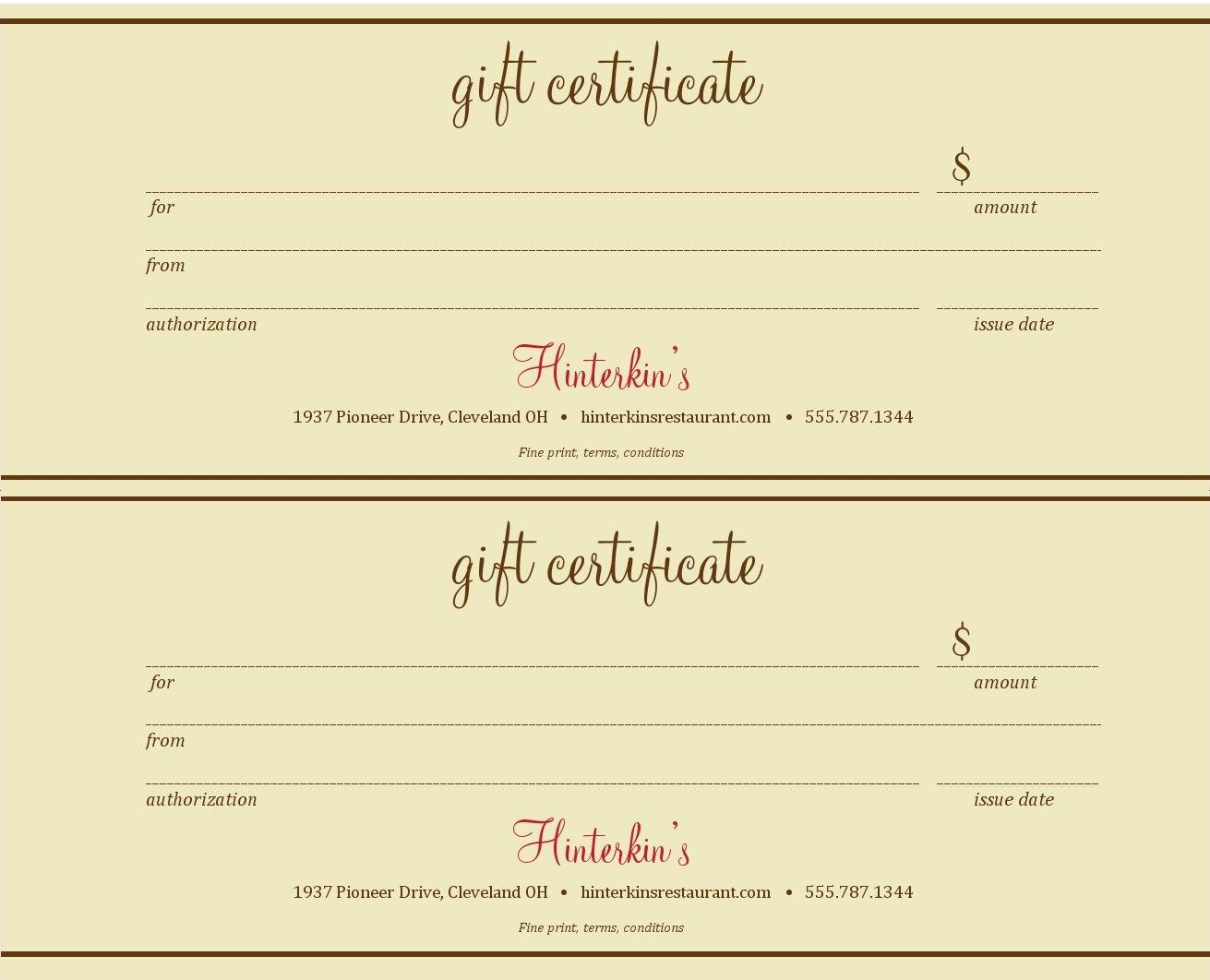 Best S Of Gift Certificate Templates Gift