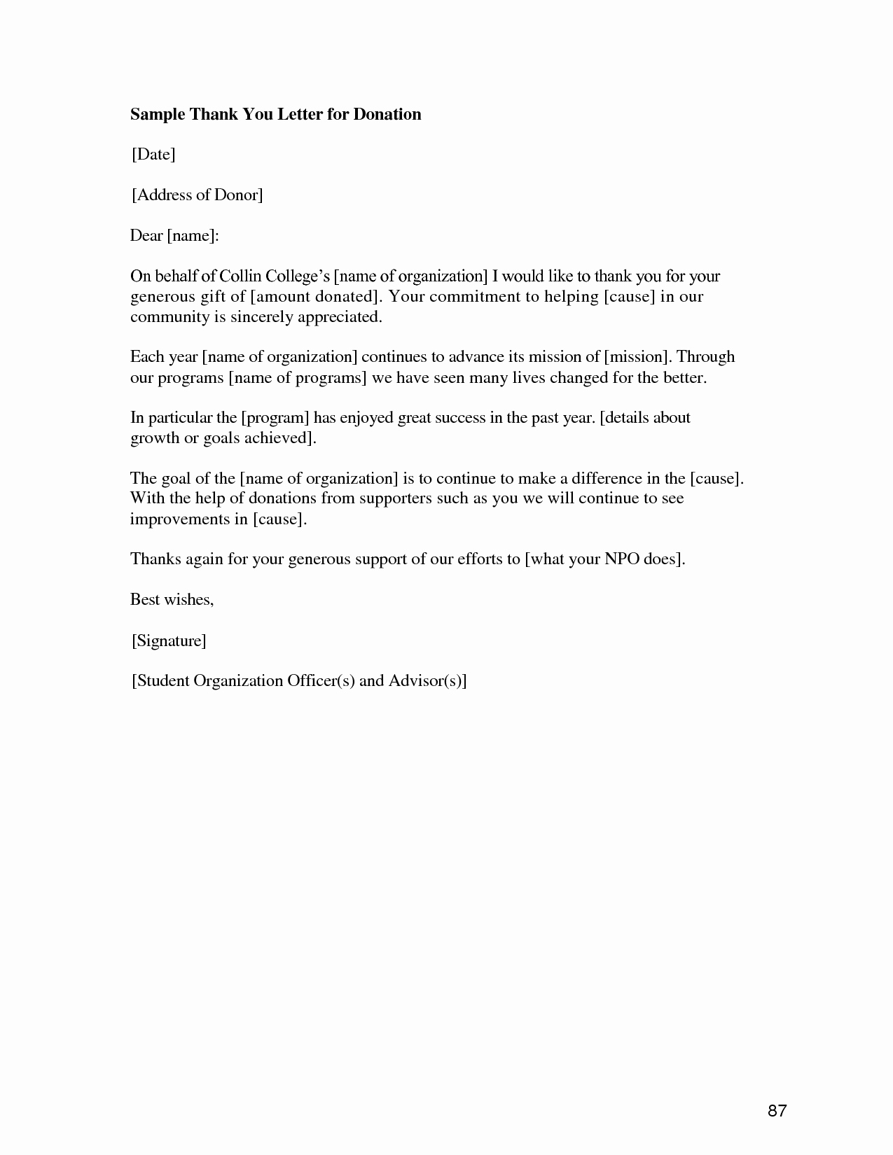 post t donation letter template