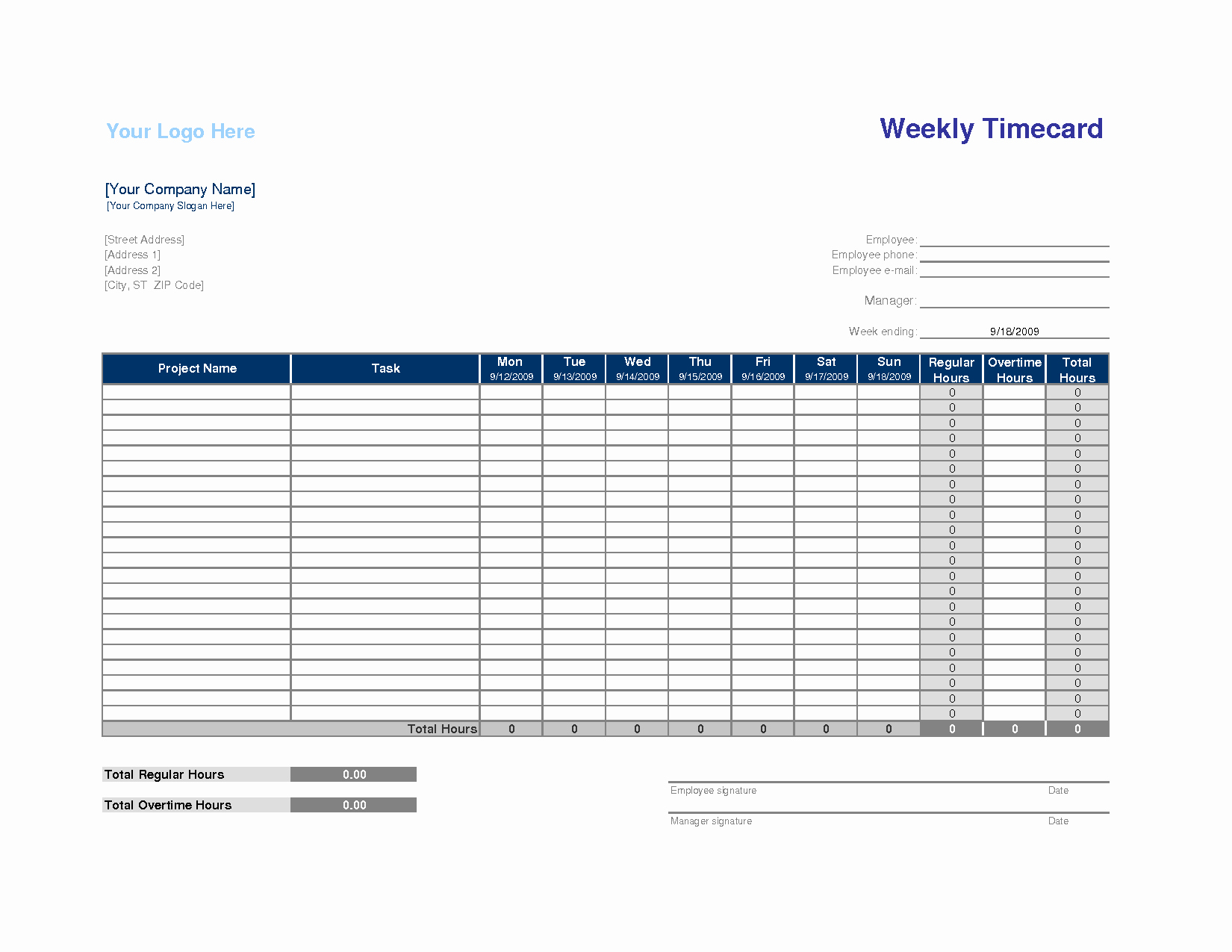 Best S Of Hourly Time Card Template Contractor Time