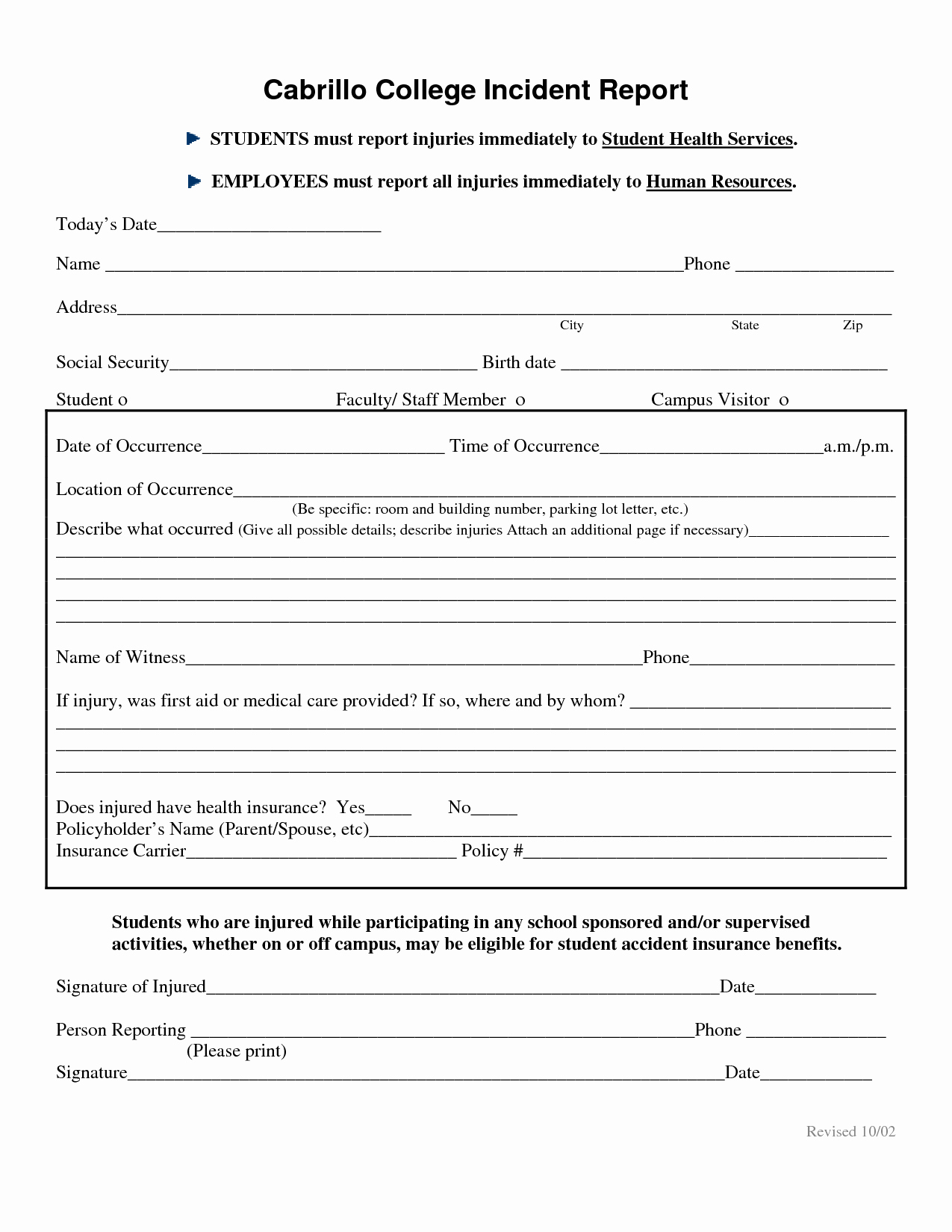 Best S Of Human Resources Incident Report Template