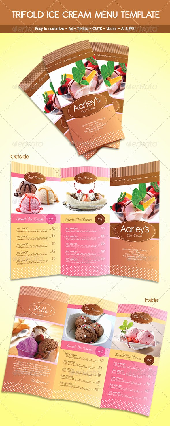 post ice cream shop menu templates