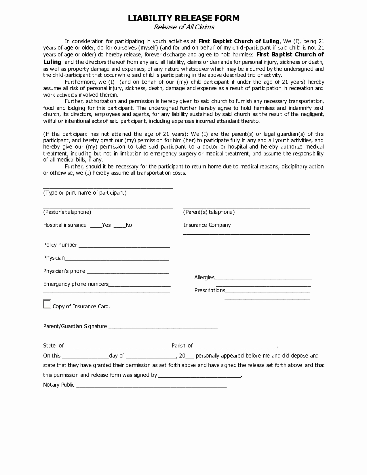 Best S Of Injury Liability Release form Personal